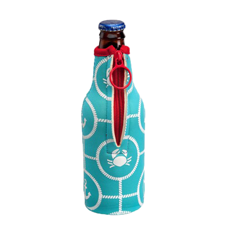 Neoprene beer bottle cooler sleeve with Zipper